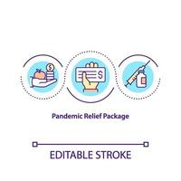 Pandemic relief package concept icon vector