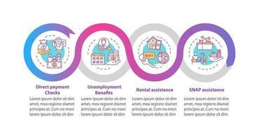 Pagos y apoyo salarial para personas vector plantilla infográfica