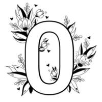 Flower number. Decorative floral pattern Digit zero. Big 0 with flowers, buds, branches, leaves and hearts. Vector illustration on white background. Line, outline. For greeting cards, design, decor
