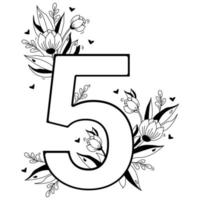 Flower number. Decorative floral pattern numbers five. Big 5 with flowers, buds, branches, leaves and hearts. Vector illustration on white background. Line, outline. For greeting cards, design, decor