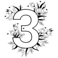 Flower number. Decorative floral pattern numbers Three. Big 3 with flowers, buds, branches, leaves and hearts. Vector illustration on white background. Line, outline. For greeting cards, design, decor