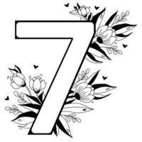 Flower number. Decorative floral pattern numbers seven. Big 7 with flowers, buds, branches, leaves and hearts. Vector illustration on white background. Line, outline. For greeting cards, design, decor