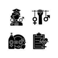 Igualdad de oportunidades de educación iconos de glifos negros en espacio en blanco vector