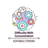 dificultad con el icono del concepto de concentración vector