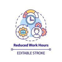 icono de concepto de horas de trabajo reducidas vector