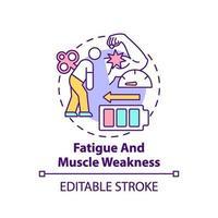 icono de concepto de fatiga y debilidad muscular vector