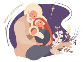 Merry Christmas. Virgin Mary and Joseph and baby Jesus Christ. The birth of the Savior, Holy Family and the star of Bethlehem on a purple background with tropical decor. Vector illustration