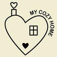 hogar acogedor. una casa con techo y una ventana en forma de corazón con texto: mi hogar acogedor. ilustración vectorial. contorno. línea. ilustración para diseño, logotipo y decoración.