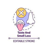 icono de concepto de pérdida de gusto y olfato vector