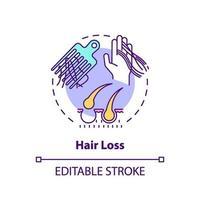 icono de concepto de pérdida de cabello vector