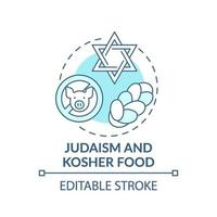 Judaism and kosher food turquoise concept icon vector
