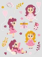 A set of cute stickers with a baby girl princess with a balloon and a unicorn and a cat, flowers and branches, a box with a gift. Vector illustration. Isolated. Kids girly collection