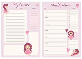 Cute girl planner templates - for a day, a week, a to-do list and a place to take notes. Organizer and schedule with notes and to-do list. Beautiful girl princess with flowers and balloons. Vector. A4 vector