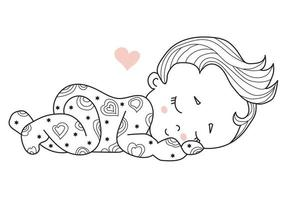 Childrens collection. Cute little baby sleeping sweetly. sweet dream. Decorative vector illustration. Outline. Isolated on white.For childrens design, postcards, decoration and decor