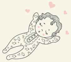 Childrens collection. Cute little baby in pajamas and romper sleeps sweetly on his back. Decorative illustration. Vector. Outline. Isolated on the background. Kids design, cards, decorations and decor