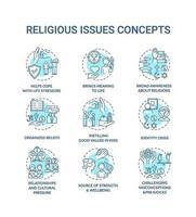 Cuestiones y valores religiosos conjunto de iconos de concepto turquesa vector
