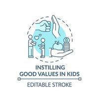 inculcar buenos valores en los niños icono concepto turquesa vector