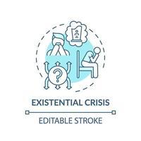 Crisis existencial icono concepto turquesa vector