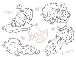 Set of cute little babies sleeping sweetly in different poses. Kids collection sweet dream. Vector. Decorative illustrations. Outline. Isolated on white. Childrens design, cards, decorations and decor