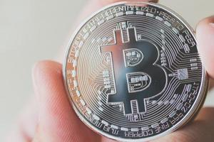 Bitcoin coins, digital currency concept photo