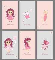 Collection of cute baby cards. Set of greeting cards with little princesses, girls and animals - cat and unicorn and cute phrases. Creative print featuring characters. Vector illustration For design
