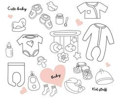 Big Set of doodles. Clothes, toys and things for a newborn baby. Line, outline. Isolated on white. Vector illustration