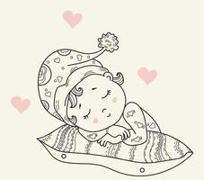 Kids collection. A cute little baby in a hat sleeps on a pillow. sweet Dreams. Decorative vector illustration. Outline. Isolated. Childrens design, cards, decorations and decor