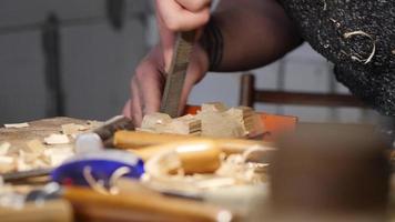 os entalhadores removem o excesso de madeira de um pedaço de madeira com uma lima video