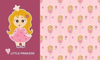 Little princess character and seamless pattern. Cute Girl with her tongue hanging out and long hair, unicorn toy, flowers and a heart on a pink background. Vector. Kids collection for design, textile vector