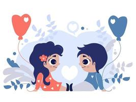Lovely little children. Couple - A girl and a boy sit opposite each other with balloons in their hands on purple background with decorative flowers and leaves. Vector illustration. childrens concept