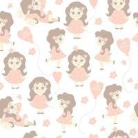 Seamless patterns. A cute girl walks, lies, rejoices on a white background with flowers and a balloon with the inscription - little princess. Vector. kids collection in the Pastel Scandinavian style vector