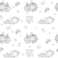Seamless patterns. Cute baby in pajamas sleeps on pillow. Decorative drawings of babies against a white background with toys and rattles, nipples. outline. Vector. Kids collection for textiles, decor