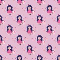 patrones sin fisuras. una niña princesa con la lengua colgando y el pelo largo sostiene un juguete de unicornio en sus manos sobre un fondo rosa. vector. colección infantil para diseño, textil, embalaje, papel tapiz