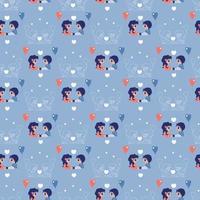 patrones sin fisuras. colección para niños. lindos niños ángeles - una niña y un niño con globos. dibujo de contorno de color y blanco sobre un fondo azul. vector. para San Valentín, textiles, embalaje vector