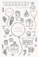 conjunto de garabatos de fiesta y cumpleaños. globos y cajas de regalos, caramelos, dulces y tarta con velas y un sombrero para el cumpleañero vector