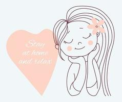 Covid-19 concept. Cute woman with closed eyes and pink heart with an inscription - stay at home and relax. Vector illustration. Outline drawing. Isolated on background