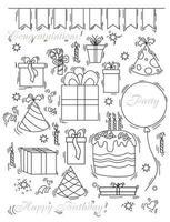 conjunto de garabatos para fiesta y cumpleaños. globos y cajas, caramelos, golosinas y una tarta con velas y una gorra, un gorro para el cumpleañero. contorno. aislado sobre fondo blanco. ilustración vectorial vector
