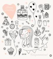 Woman with balloons and sweets. Woman birthday doodle set. Cute girl and cake with candles, donut and caramel, ice cream and chocolate, gifts and a rose. outline. isolated on white background. Vector