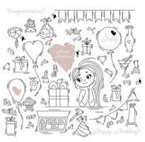 cumpleaños doodle set. cajas de globos de mujer. dulce niña linda y regalos, cajas y globos, dulces y pasteles, cosméticos y cócteles. contorno aislado sobre fondo blanco. ilustración vectorial vector