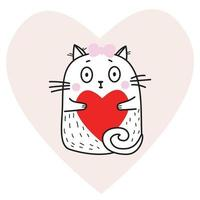 Cute funny white cat girl with a red heart in her paws on the background of a pink heart. Vector illustration. Cute animal For design, decoration, Valentines Day cards