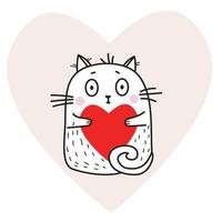 Cute funny white cat with a red heart in its paws on a pink heart background. Vector illustration. Cute animal For design, decoration, valentines day cards