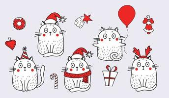 A set of cats in festive clothes, in a Santa hat, a hat with horns, a birthday cap, with a balloon and items for Christmas - a star, a bell, a gift and sweets. Vector illustration for design