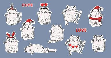 A set of stickers white cats in festive clothes, in a Santa hat, a hat with horns, a birthday hat, with a garland of hearts, different - sit and lie, resentment. Vector illustration for design