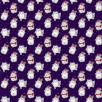 Seamless patterns. White cute cats in a hat with antlers, in a Santa hat, in a scarf on a blue background with white snowflakes. Vector . Festive Christmas and New Year design and decor