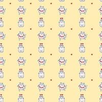 Seamless patterns. Valentines card Festive cats with a garland and in a hat with hearts dance and sit on a yellow background. Vector for design, holidays and valentines