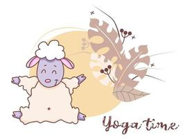 Yoga time. A cute lamb is engaged in hobby - yoga, stretching while sitting in an asana. Farm animals yoga - sitting sheep on decorative background with tropical leaves. Vector. Flat design. Isolated
