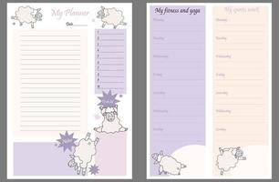 Cute planner templates - for a day, a week, a to-do list, a place to take notes, and a weekly fitness and yoga schedule. funny sheep in asanas - yoga pets. Organizer and Schedule. Vector. A4. Isolated vector