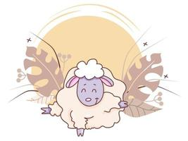 Pets yoga time. A cute lamb is doing yoga, standing in an asana, stretched out and raised his hooves. Vector illustration on a decorative background with tropical leaves, berries and decor