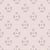 Seamless patterns. Yoga for farm animals. Cute decorative lambs in asanas, go in for sports and meditation. vector illustration on a pink background. Outline. For textiles, wallpaper, kids collection