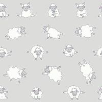 Seamless patterns. Yoga for animals. Sticker drawings of cute white sheep practicing meditation, standing asanas and sports . Vector on a gray background. For packaging, textiles, wallpaper